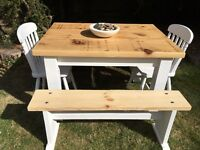 Rustic Pine Table, Chairs & Benches