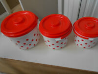 3 Fashion Buckets.for Food..  with polk a dots  for kids picnics