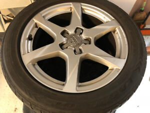 A set of 4 original Audi A4 Rims with all-season 225/50 R17 tire