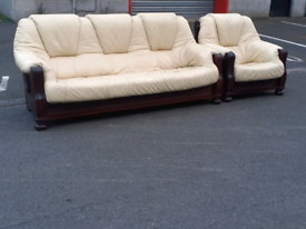 Wood Framed Cream Leather 3 Seater Sofa and Chair