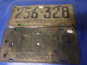 VINTAGE 1941 AND 1950 MINNESOTA LICENSE PLATES - PARKER PICKERS