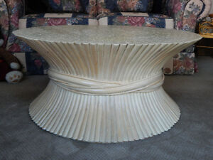RARE UNIQUE VINTAGE ROUND BLEACHED CANE COFFEE TABLE