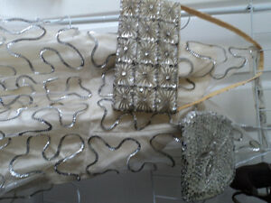 Vintage Dress with overlay, silver sequence & matching purses