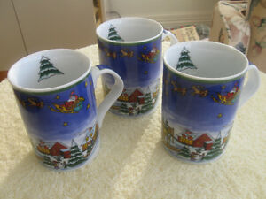 "THREE MATCHING ""HO-HO-HO-OLD-SANTA"" COFFEE / TEA MUGS"