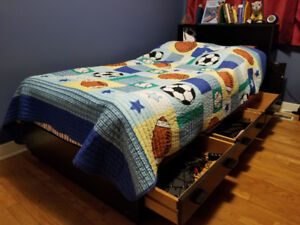 Kids' bed with storage and mattress