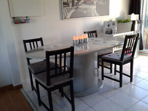Table ovale grise