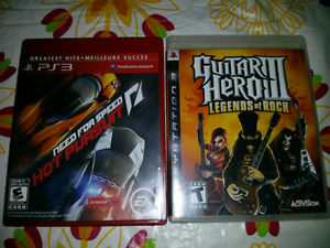 Jeux ps3 comme neuve 5$ ch Guitar hero 3 Need for speed