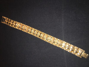 10K Gold Nugget Bracelet Custom Clasp 53 Grams !! Nice Piece !!