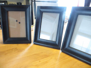 Three 4X6 Black Wood Photo Frames