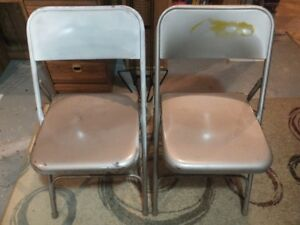 Chairs, 2 metal folding, 2 wooden