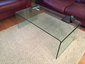Structube glass coffee table and end table