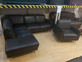 FREE DELIVERY brown leather corner sofa + armchair suite
