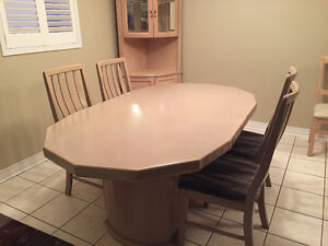 Kitchen Table, Chairs and Corner Curio Cabinet