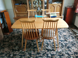 Ercol 4 Dining chairs & plank table