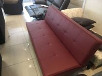 Brand New Designer Red Faux Leather 3 Seater ClicClac Sofa bed