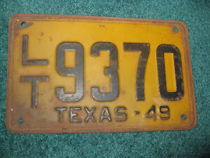 1949 Texas Licence plate