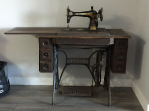 Early 1800's Singer Sewing Machine with Console Table