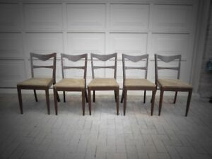 """5 – ANTIQUE SINGLE SLAT """"LADDER BACK"""" DINING CHAIRS"""