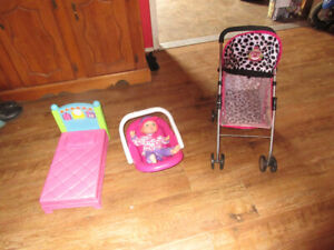 baby magic kissing doll stroller. bed and seat