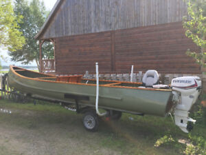 22ft Norwest canoe and motor for sale