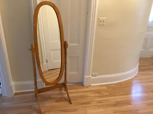 Oval Wood Frame Standing Mirror