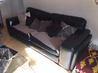 Black leather sofa furniture