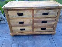 Solid mango 6 drawer chest