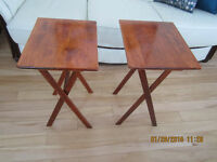 2 FOLDING WOODEN TABLES, $35 FOR BOTH.