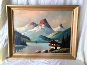 Vintage 1940's O. Muller Framed Oil in Canvas Painting - RARE