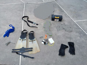 Scuba Fins, Wet Suit Gloves and Various Scuba Items (Lot 1 of 2)