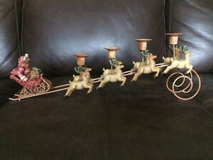 Santa and Reindeers Candle Holder
