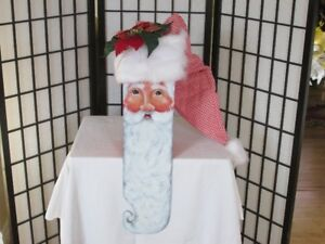UNIQUE SANTA HEAD --BEAUTIFULLY TOLE PAINTED