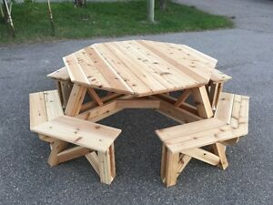 8 Person, Hand Built, Cedar Octagon Picnic Table