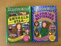 2x Jacqueline Wilson Hardback Books Children's Girls' - 'Emerald Star' + 'Sapphire Battersea'