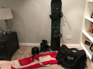 Great Burton Snowboard, boots, helmet and bags