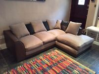 Brown Leather Fabric Left Hand Facing Corner Sofa Good Condition