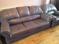 Leather sofa, 3 seater + 2x one seater