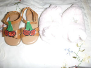 Sandles infant size 3 and bunny slippers 6 months