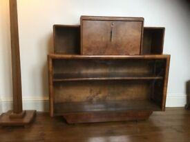 Art Deco desk, book case, bureau with key
