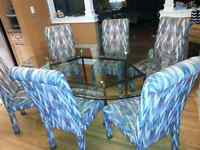 Glass Dining Table with 6 upholstered chairs