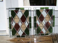 LARGE 2 Stained Glass Window Wall Hangings Suncatchers