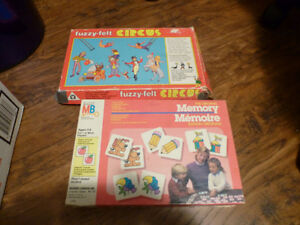 Vintage 1970's Games Fuzzy Felt Circus/ Memory