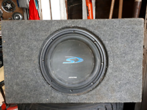 "10"" alpine type ""S"" sub in shallow box"