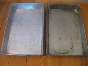 2 VINTAGE RECTANGULAR BAKING PANS from GRANDMA'S CUPBOARD