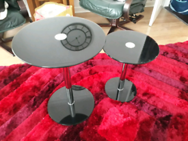 Two Glass & Chrome Round Side Tables