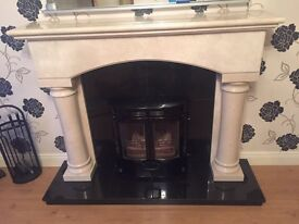Solid marble mantle with Charnwood multifuel stove (fireplace stove )