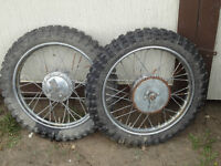 Two 3.00 x 16 Motorcycle wheels and knobby tires - Dirt/Trail