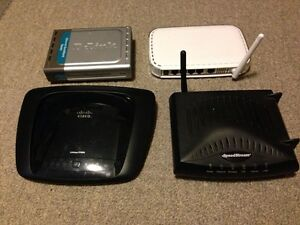Set of 3 modems routers. No power supply but all in working orde