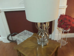 2 New Chrome Lamps brushed silver Nickel