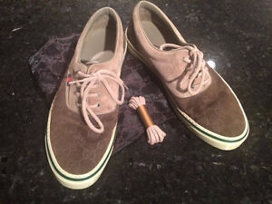 Gucci Monogram Suede Beige & olive green lace up sneakers Size 8